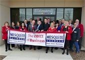 Chamber of Commerce and Council members performing ribbon cutting in front of Elements International