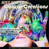 child with vibrant paint on her hands - ad for canvass creations event