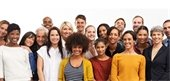 Group of diverse people smiling and standing closely to each other