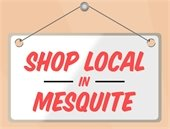 Cartoon graphic of hanging sign that says Shop Local in Mesquite