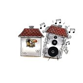 clip art of man in house and neighbor is blasting music