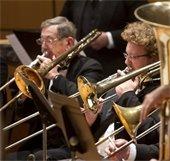 orchestra, trombone players