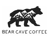 Bear Cave Coffee logo: bear walking with picture of mountains on his side