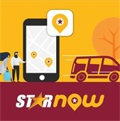 STARNow mobile app icon. Shows a man and woman pressing buttons on a life-size mobile phone. On the other side of the graphic, a car is arriving to give them a ride.