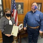Rachel Lopez and Mayor Bruce Archer