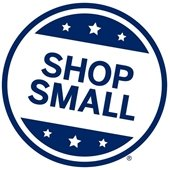 Round badge with words Shop Small - official logo of Small Business Saturday