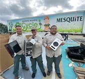 city staff collect old monitors, tvs and computers for recycling