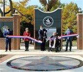 ribbon is cut at the Mesquite Veterans Memorial