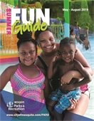 Summer Fun Guide cover with mother and her two kids at City pool
