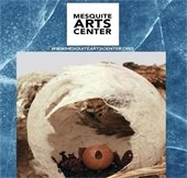 Cover page of spring 2020 Mesquite Arts Center brochure. Includes textured blue background with a photo of an artpiece in a square frame.