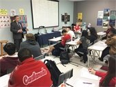 City Manager Cliff Keheley talking at career day