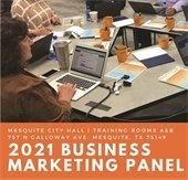 Marketing Panel, woman on laptop talking to group