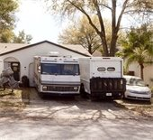 RV and truck parked in driveway