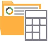 budget calculator and file graphic