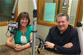 CVB manager and Mayor Stan Pickett pictured at KEOM studio