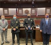 City Manager Cliff Keheley, Fire Chief Russell Wilson, Officer of the Year Chad Rose, Mayor Bruce Archer