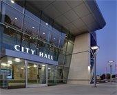 city hall at dusk
