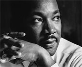 Black and white photo of Martin Luther King, Jr.