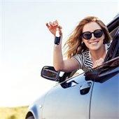 girl in her new car