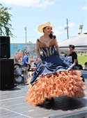 Lady wearing Cinco de Mayo themed dress