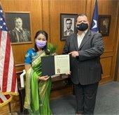 Dr. Vishnu Maya Upadhyay and Mayor Bruce Archer