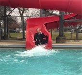 Assistant City Manager Ted Chinn does the 2019 Polar Plunge