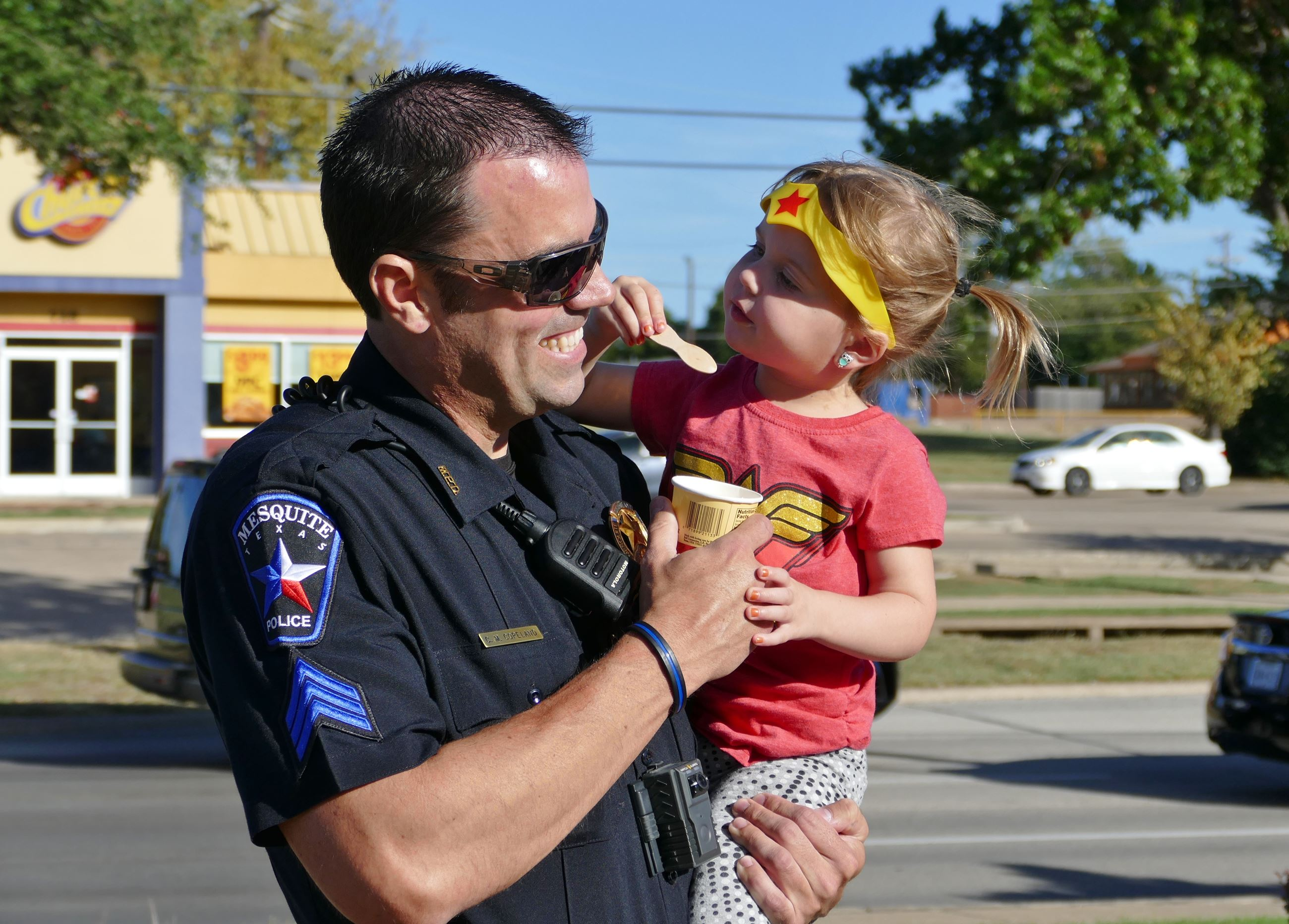 Officer and daughter
