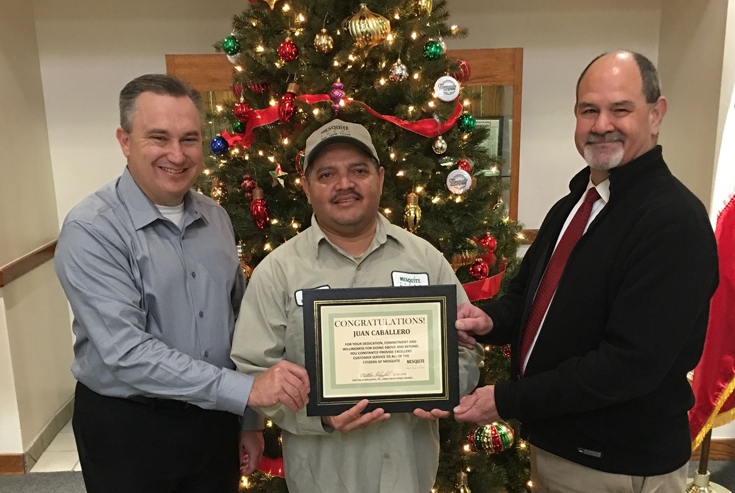 12-21-18 City Manager Cliff Keheley-Solid Waste worker Juan Caballero-PW Dir Matt Holzapfel