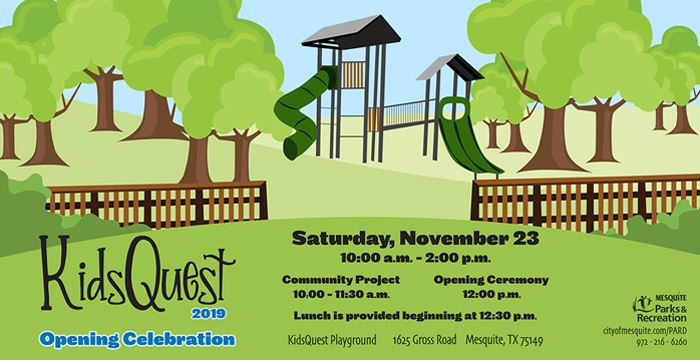 KidsQuest Opening Celebration takes place from 10 a.m. to 2 p.m. on Saturday, Nov. 23. Join us at Debusk Park, 1625 Gross Road