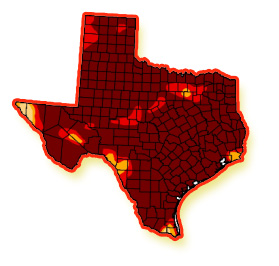 Map of Texas in drought