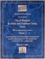Mesquite's ISO Class 1 Rating Award