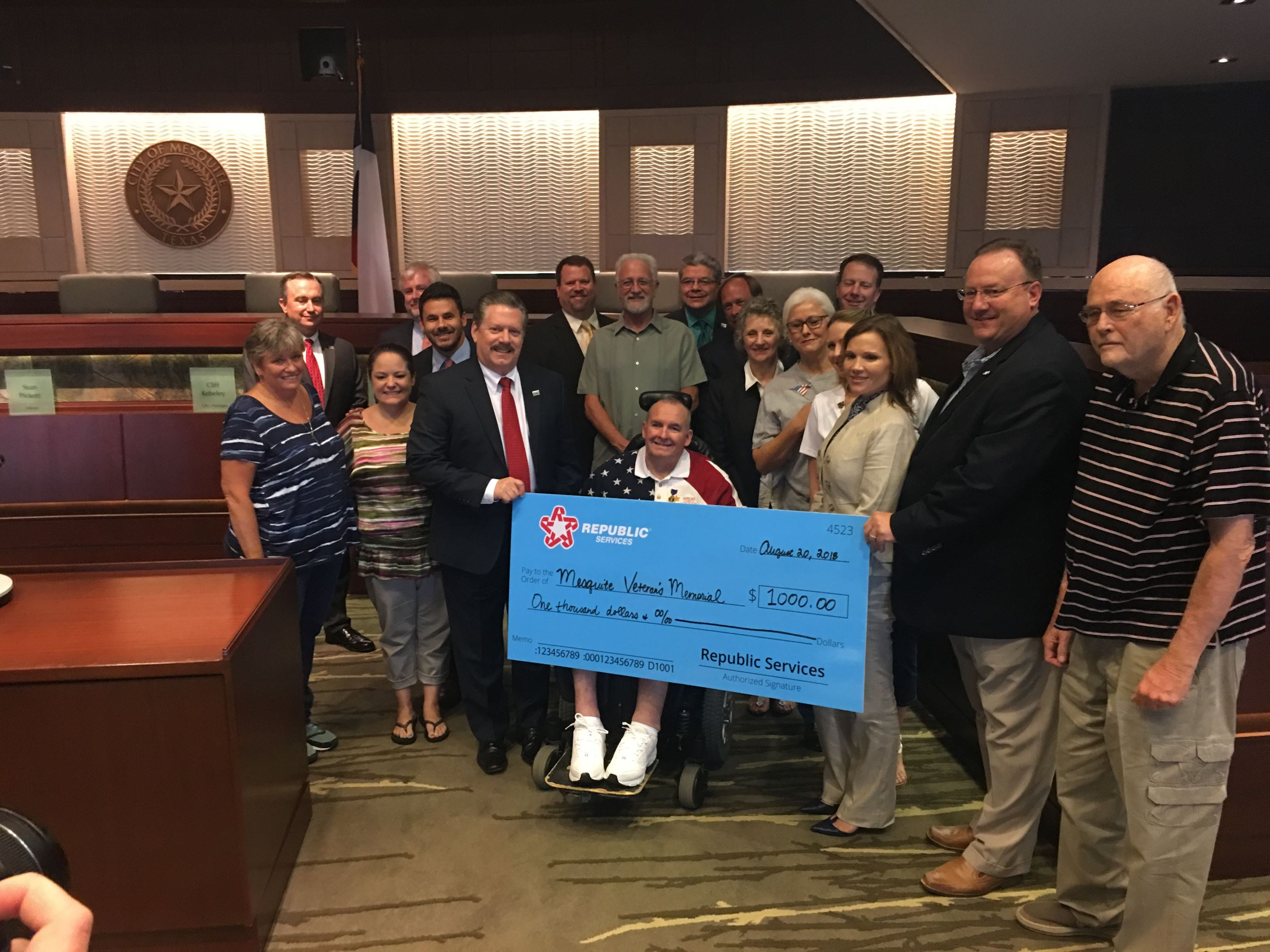Republic Services donates to veterans memorial