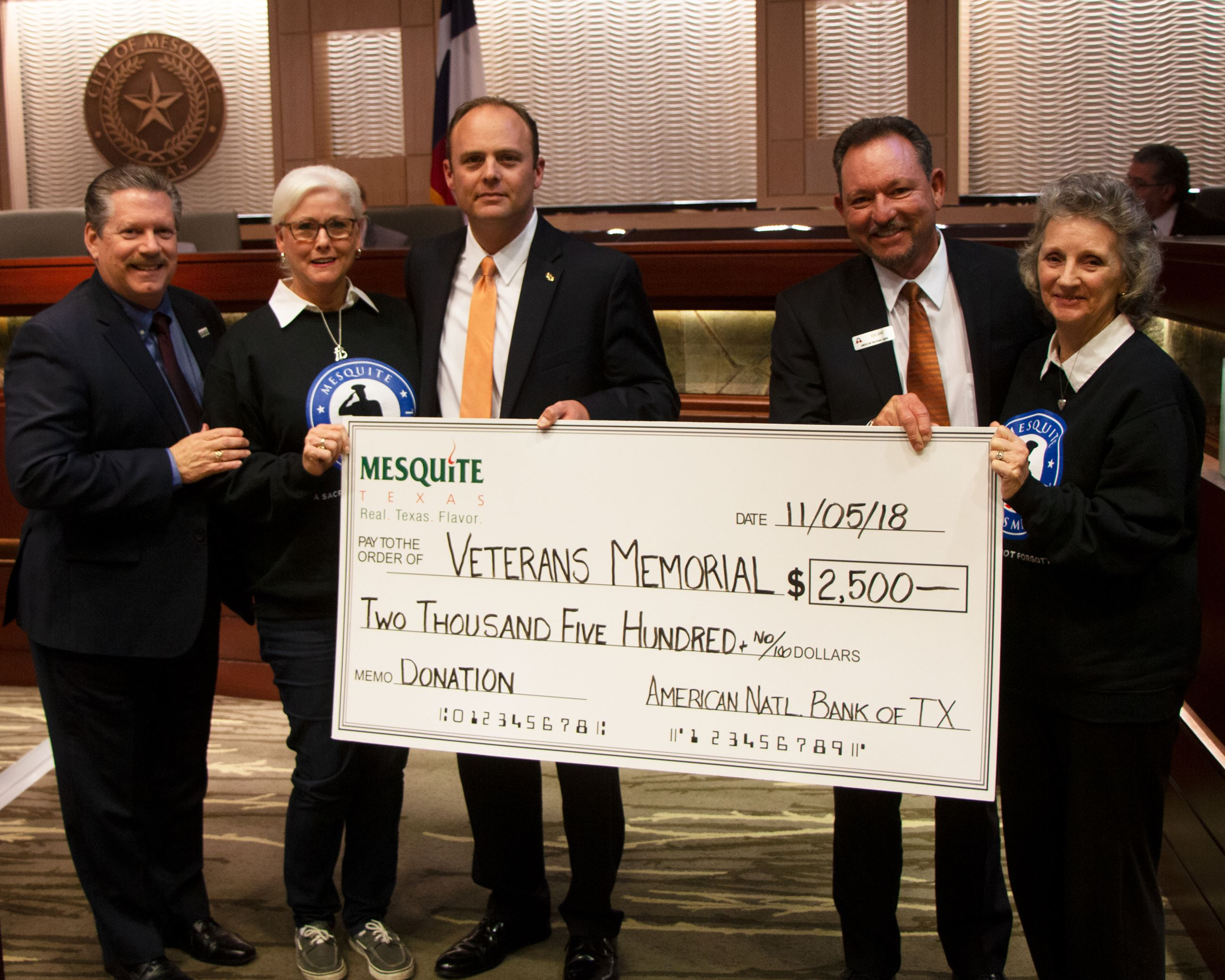 11-5-18 Council Photos - American National Bank of Texas Donation to Veterans Memorial