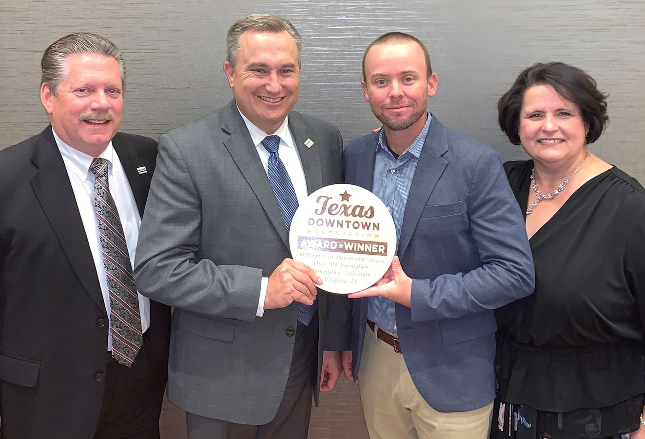 Oct2019-Downtown Mesquite-TDA The Spirit of Downtown Award-Mayor Pickett-City Mgr Keheley-Downtown B