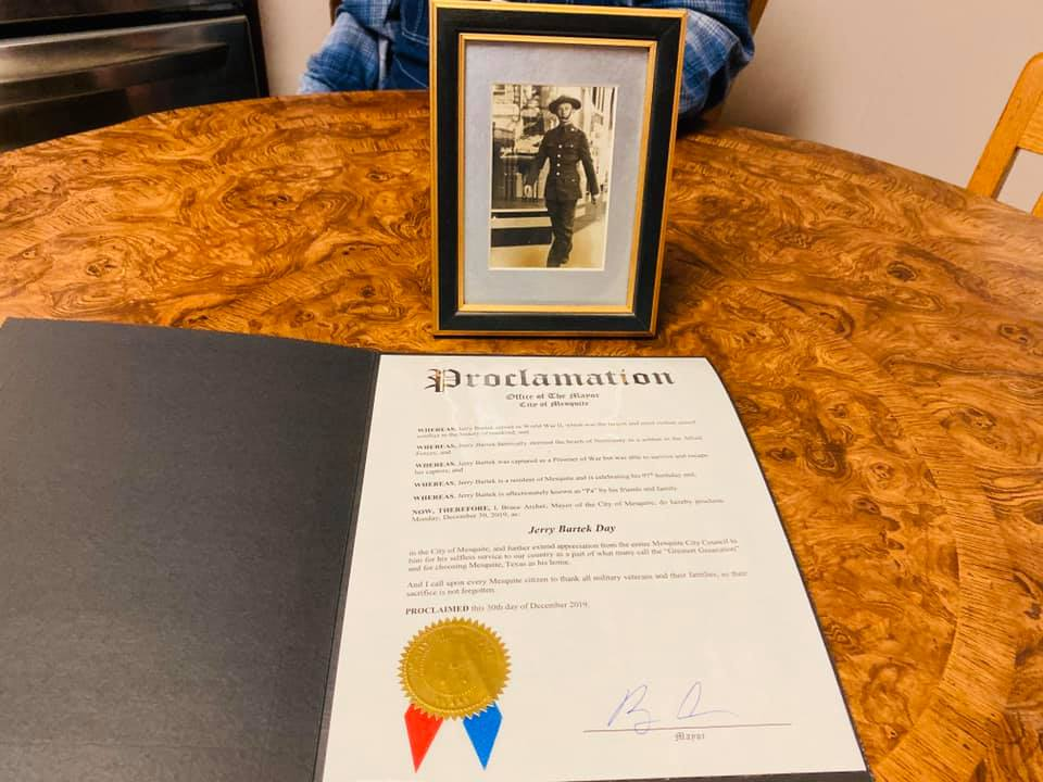 Proclamation and Jerry Bartek WWII photo