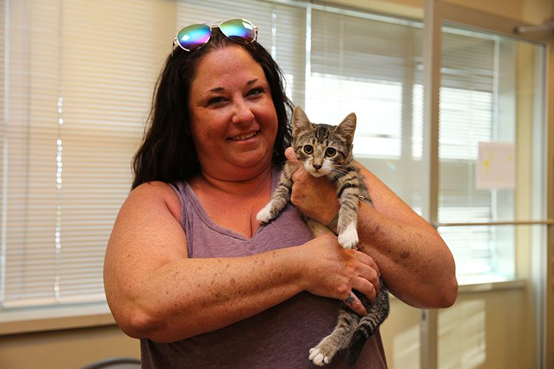 Clear the Shelters - Mesquite TX - woman adopts kitten