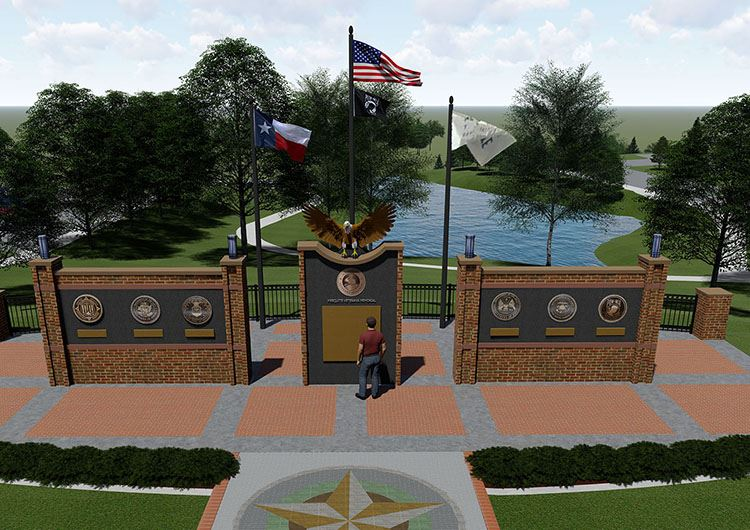 cropped front view Mesquite Veterans Memorial rendering Birds Eye View 1-31-2020