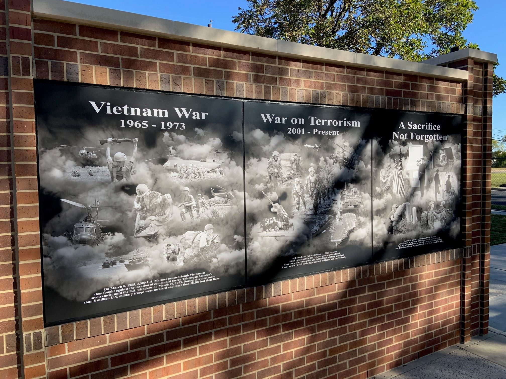 photo of one of the war story boards at veterans memorial