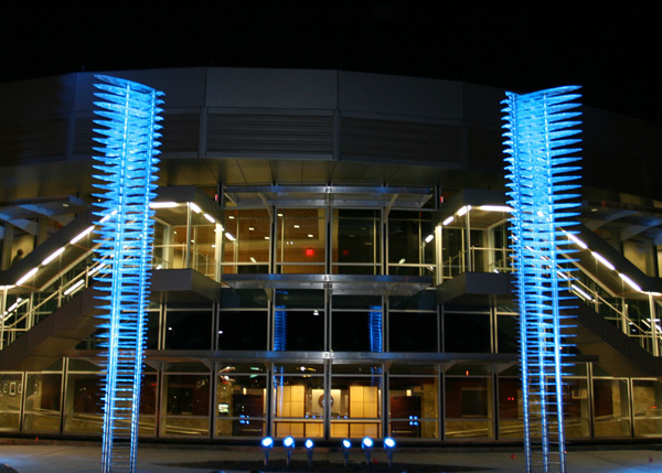 The columns illuminated