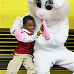 Boy high five with Easter Bunny