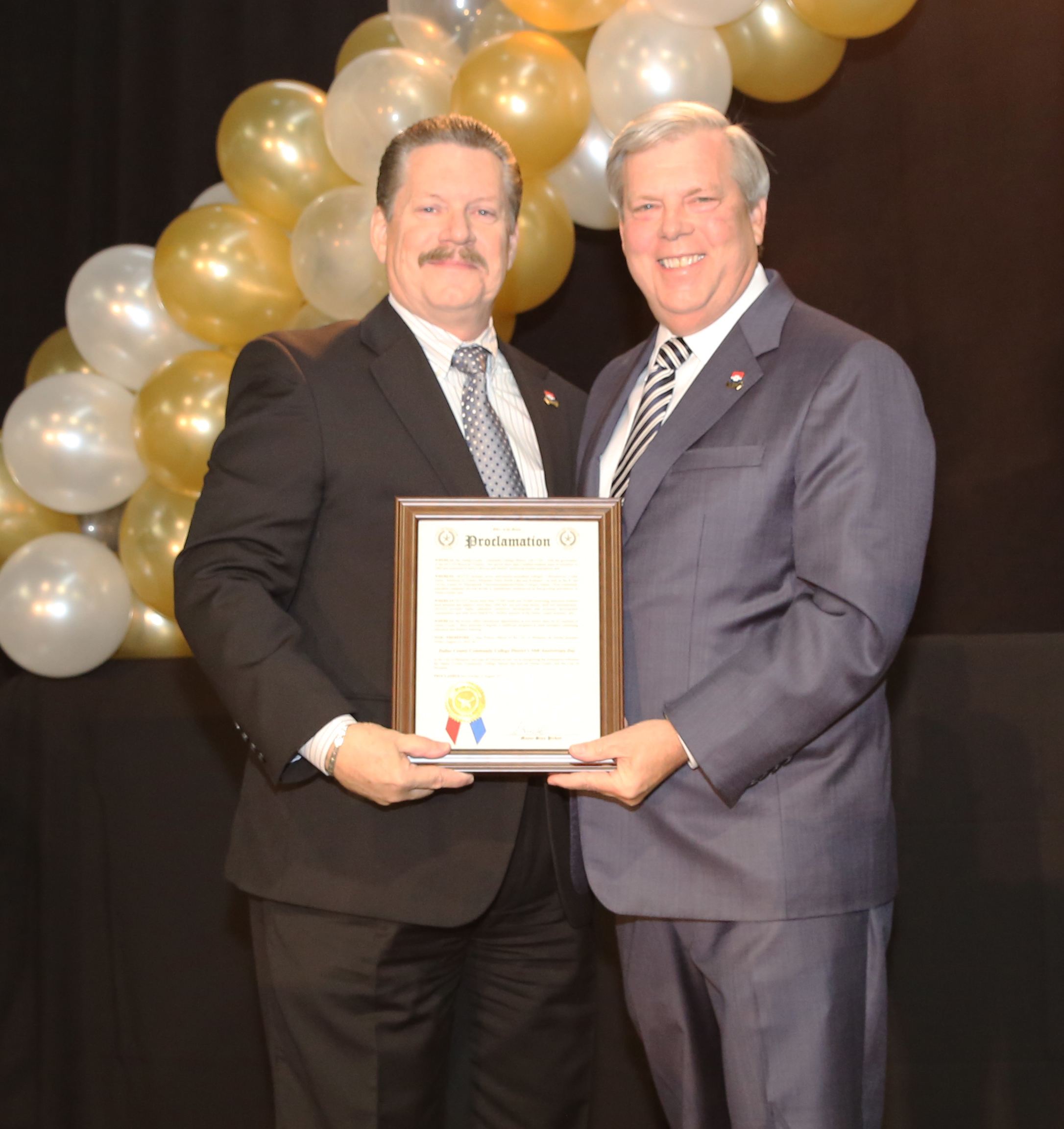8-28-15 Mayor Stan Pickett and DCCCD Chancellor Dr Joe May.jpg